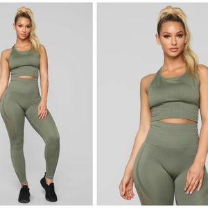 Fashion Nova With Ease Seamless Matching Set Olive